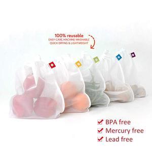 Image 2 - 5 팩 메쉬 가방 야채와 과일 그물 가방 폴리 에스터 메쉬 splicing 메쉬 가방 재사용 가능한 주방 스토리지 제품 주최자
