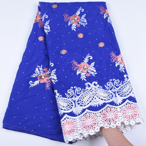 New Arrival Nigerian Swiss Voile Lace In Switzerland Blue Swiss Imitation Cotton Lace Fabrics With Stones For Every Dress F1673(China)
