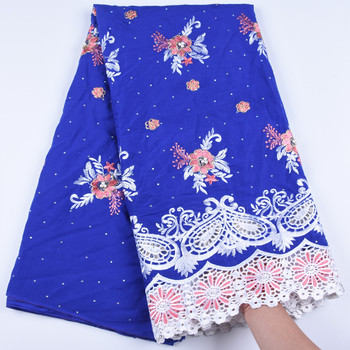 New Arrival Nigerian Swiss Voile Lace In Switzerland Blue Swiss Imitation Cotton Lace Fabrics With Stones For Every Dress F1673