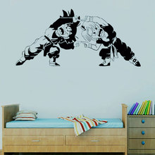 цена на Dragon Ball Z anime Character Trunks and Son Goten Fighting Posture Wall Decal Anime fans Decorative Vinyl Wall Sticker LZ16