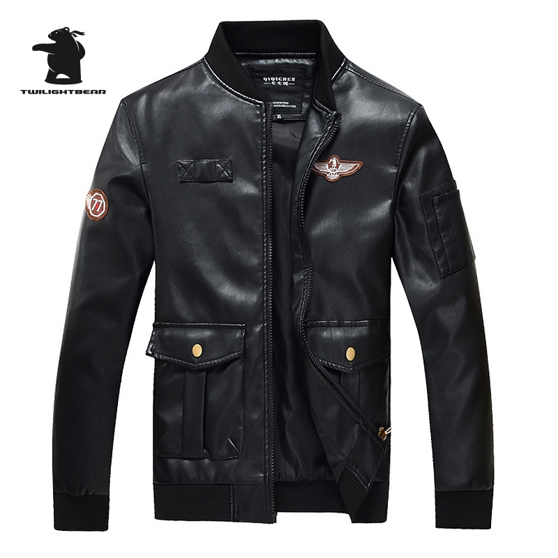New Mens Leather Jacket Autumn Spring Stand Collar Casual PU Pilot Leather Jacket Men Le ...