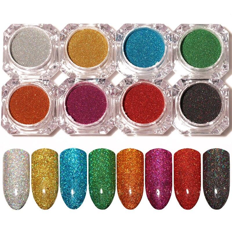 Born Pretty 8 Colors Set Holographic Laser Powder Set Sliver Nail Glitter Manicure Chrome Pigments Kit DIY Nail Dip Manicure