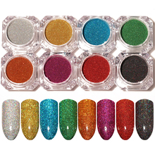 Born Pretty 8 Colors Set Holographic Laser Powder Set Sliver Nail Glitter Manicure Chrome Pigments Kit DIY Nail Manicure