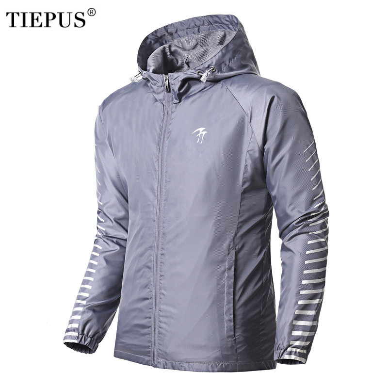 TIEPUS Spring And Summer New Casual Jacket Men's Hooded Outerwear Men's Windbreaker Men Thin Section Slim Sportsing Jacket S~3XL