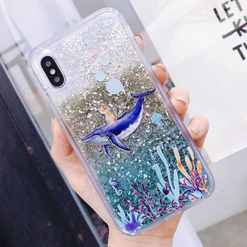 Dolphin Coral Cat Liquid Quicksand Soft Silicone Case For Redmi Xiaomi Mi MIX 2S 5X 6X A2 A1 8 Note 5 Plus Global Pro Cover image