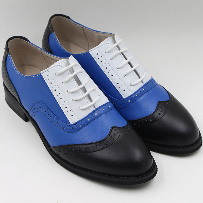 Genuine Leather Mixed Colors Blue White Vintage Oxford Shoes Women Bullock Derby Flat Shoes Skor Four