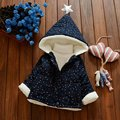 Warm Winter Baby Girls Infants Kids Printed Star Velvet Hooded Thicken Xmas Jackets Outerwear Cardigan Coat Parkas Casaco S4178