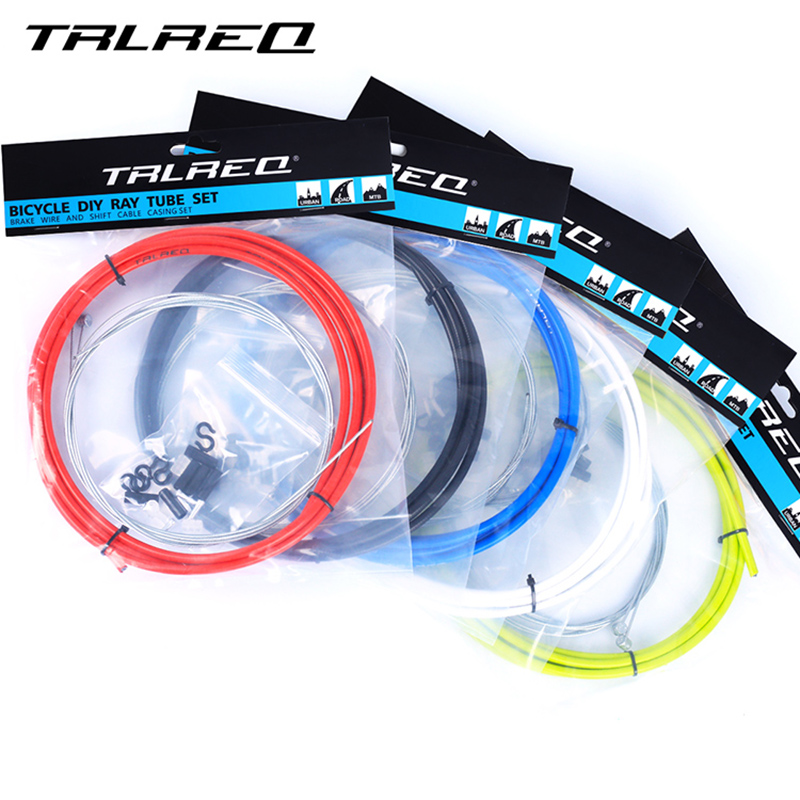 CLEAR BLUE Bicycle 5mm LINED brake cable housing and hardware kit BMX MTB