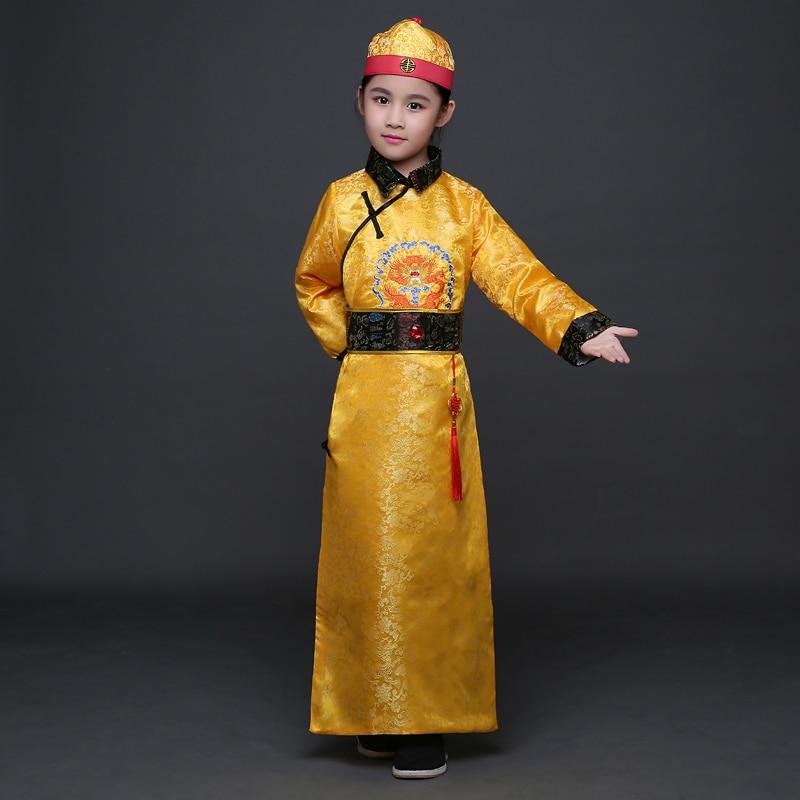 Çocuk Qing Hanedanı Kostüm ile Boy Çocuk Çin Hanfu Şapka - Dans Kıyafetleri ve Sahne Kostümleri - Fotoğraf 2