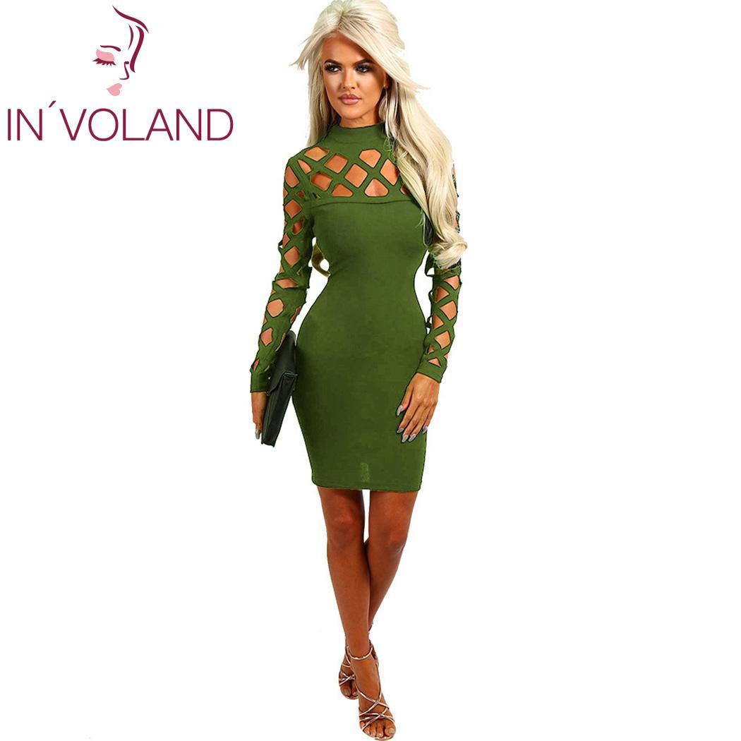 Solid Fashion Women Casual Turtleneck Long Sleeve New Hollow Mini Dress