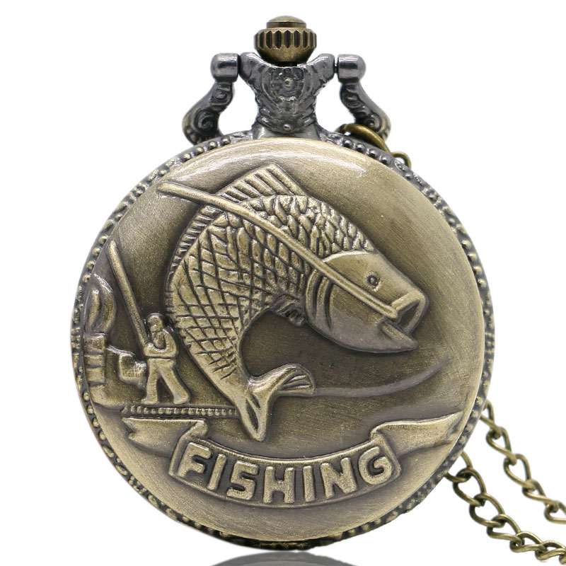 Fashion Bronze Vintage Pocket Watches Necklace Chain Pendent Fishing Angling Antique Style Quartz Steampunk Mens Gift