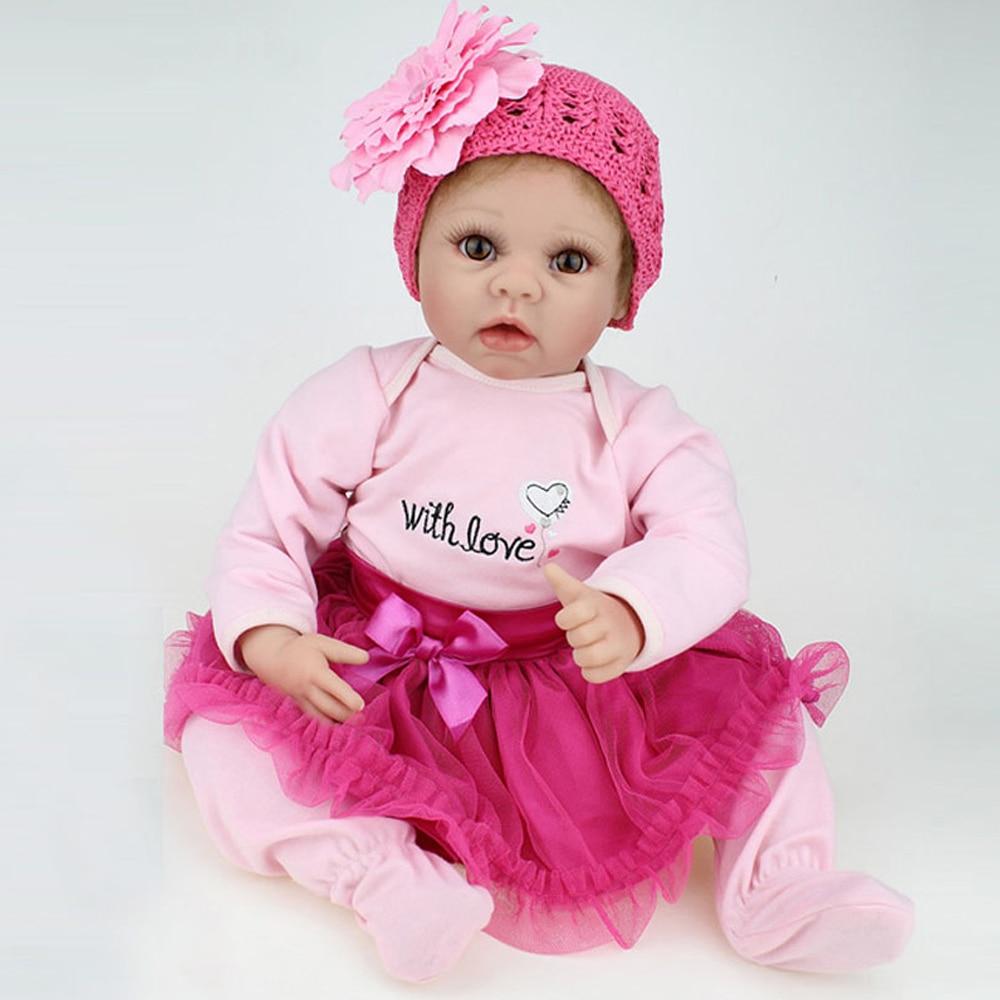 Wholesale 2017 New 55cm 22 Hot Sale Lifelike Reborn Baby Doll Handmade Realistic Baby Dolls Christmas Gift For Girl Baby