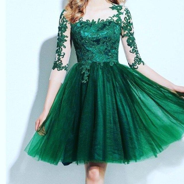 Pretty Applique Beaded Organza Vestido De Festa Prom Dresses Hand Made Lovely A-Line Knee-Length Party Dresses Fast Shipping