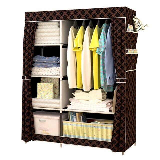 Modern basit dokunmamış kumaş dolap çok fonksiyonlu DIY montaj gardırop toz geçirmez dolap ev mobilya