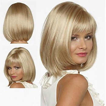 цена на HAIRJOY White Women Synthetic Full Wigs Short Straight Bob Hairstyle Blonde HighLights Hair Wig Heat Resistant Free Shipping