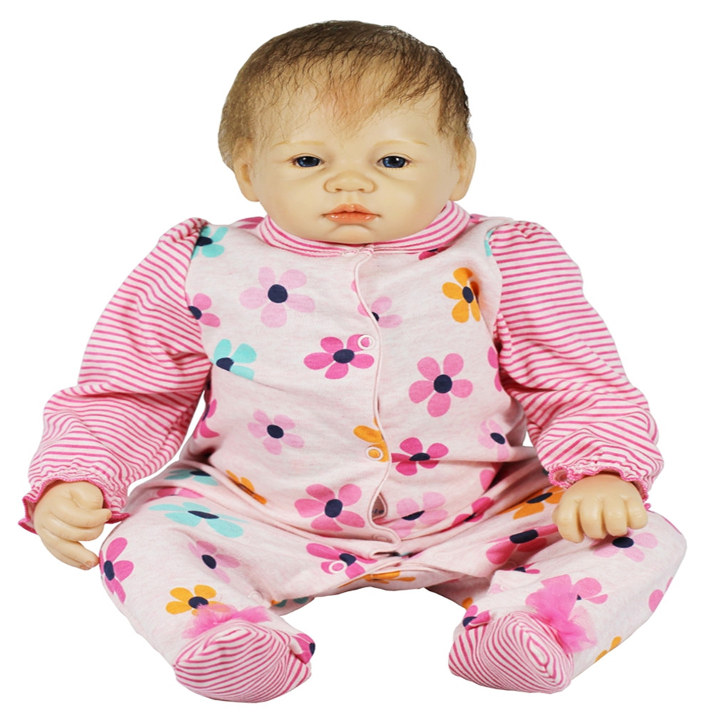 SanyDoll 22 inch 55 cm Silicone baby reborn dolls, Lovely pink conjoined doll birthday gift for holiday gifts 22 inch 55 cm baby reborn silicone dolls lifelike doll reborn lovely set sleeping doll holiday gift