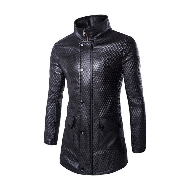 Mens Long Trench Coats 2016 Fashion PU Leather Long Sleeve Zipper Solid Male Cotton Outerwear Slim Black Motorcycle Overcoat F65