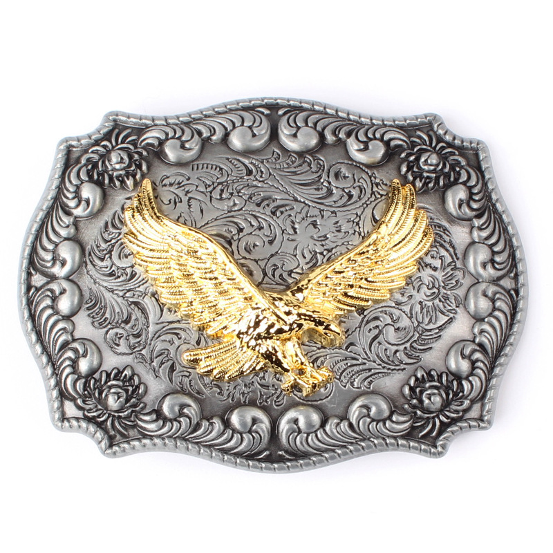 Golden Eagle Two-color Metal Belt Buckle Take The Lead