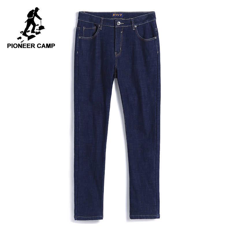 Pioneer Camp толстые флисовые мужские зимние брюки брендовая одежда плотные однотонные темно-синие теплые джинсы мужские тяжеловесные брюки ANZ710003
