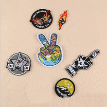 Circular And Finger star Badge Repair Patch Embroidered Iron On Patches For Clothing Close Shoes Bags Badges Embroidery DIY