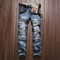 Mens Fashion Ripped Jeans Slim Fit Men Brand Clothing Hole Denim Pants Vintage Destroyed Washed Patchwork Jean Trousers For Male