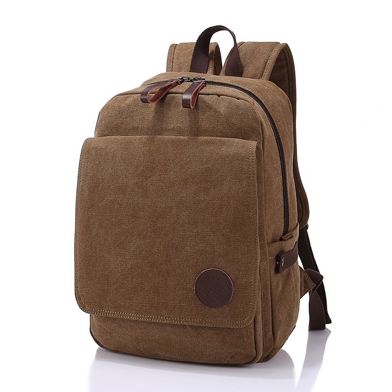 High Quality Fashion Brown Color Canvas Men Backpacks Man Travel Bags Women Backpack #M3021