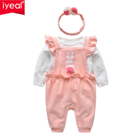 IYEAL Baby Girl Clothes Set Newborn Baby Rompers with Ruffles +Cotton White T shirt + Headband Toddler Infant Girls Clothing