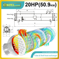 20HP Water Cooled Condenser For Water Source Heat Pump Water Heater
