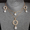 Gold Plated Crystal Clavicle 2 Layers Circle Imitation Pearl Necklace Dangle Earrings Jewelry Set For Women  Wedding Party