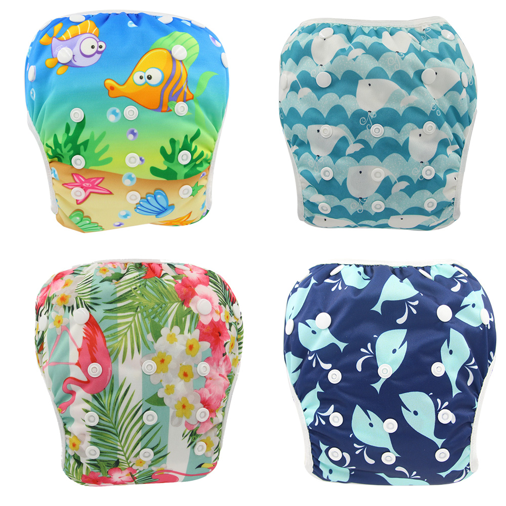 Ohbabyka Swimming Diaper Cover Baby Infant Swim Cloth Nappies Character Waterproof Reusbale Pocket Diapers Newborn Baby Diaper