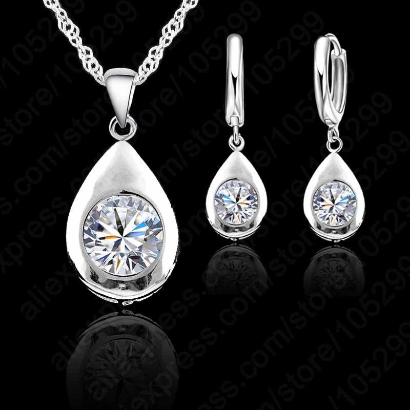 New Fashion Water Drop Shape Women Lady Jewelry Set 925   Sterling Silver Necklace Earrings Set With Round Shiny CZ