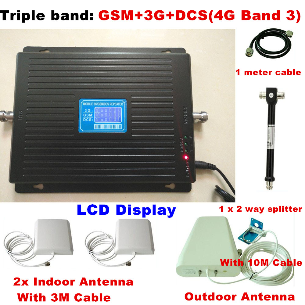 2G 3G 4G GSM 900 3G 2100 LTE 4G 1800 Tri Band Mobile Phone Signal Repeater Signal Booster Amplifier 4G LTE Antenna For 2 Rooms