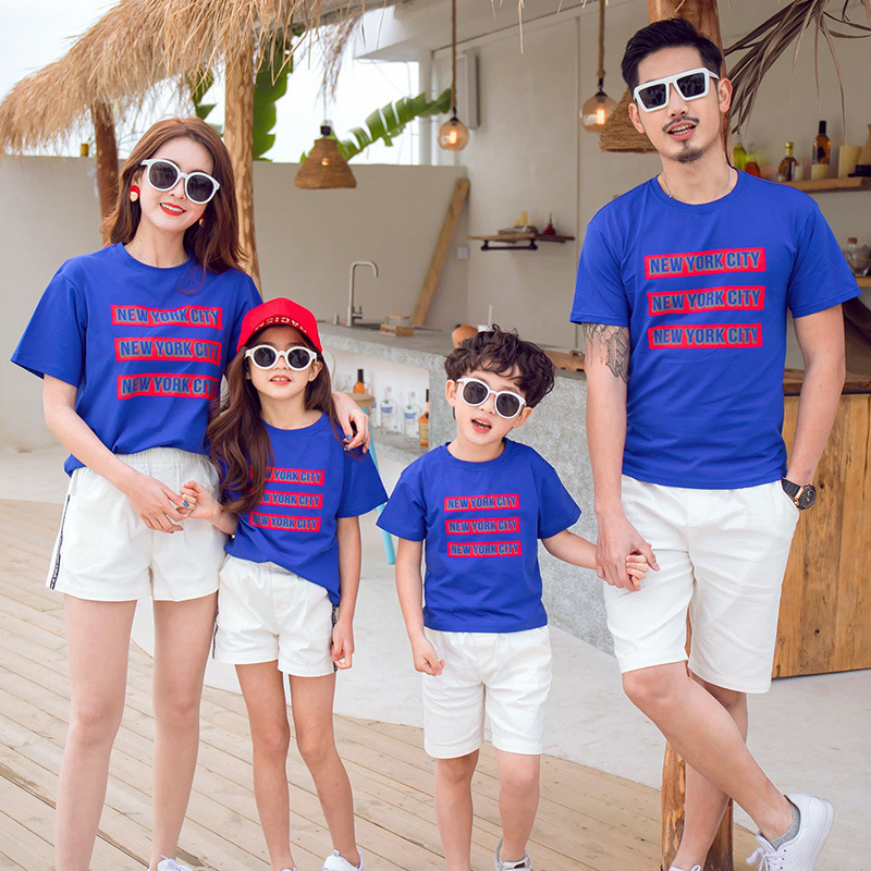 Mother Daughter Letter Print Blue T-shirt and White Shorts Suit Summer Family Matching Outfit Dad Son Top Black