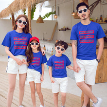 цена на Mother Daughter Letter Print Blue T-shirt and White Shorts Suit Summer Family Matching Outfit Dad Son White Top and Black Shorts