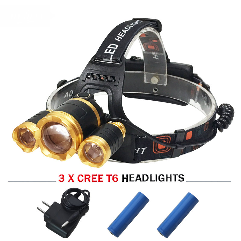 <font><b>10000</b></font> lumens 3T6 led headlight cree xm l t6 head lamp waterproof <font><b>lights</b></font> headlamp18650 rechargeable battery head flashlight torch