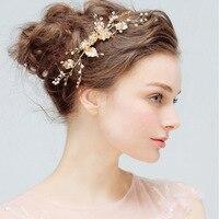 Charme Fleur Or Couleur Barrette Floral Tête Pièce Perle De Cheveux De Mariage Peigne Clip Cristal Épingle À Cheveux de Mariée Bijoux de Cheveux Accessoire