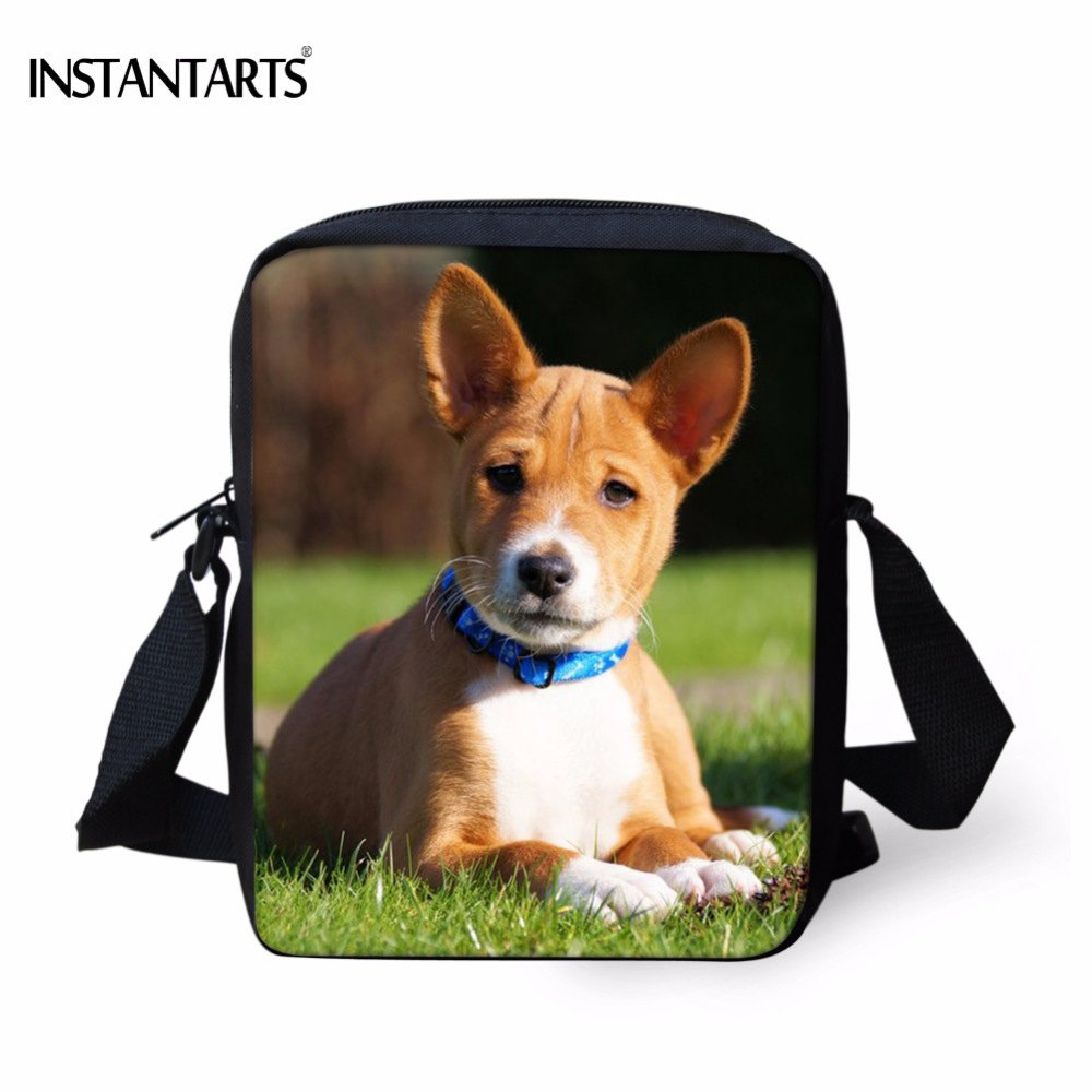 INSTANTARTS Kawaii 3D Animal Basenji Dog Printed School Bags for Boys Girls Funny Kindergarten Satchels Kids Mini Messenger Bags