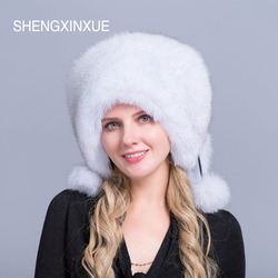 JIQIUZHANXUEFEI 2019 New Arrival women hats real fox fur pompom hat for women girls