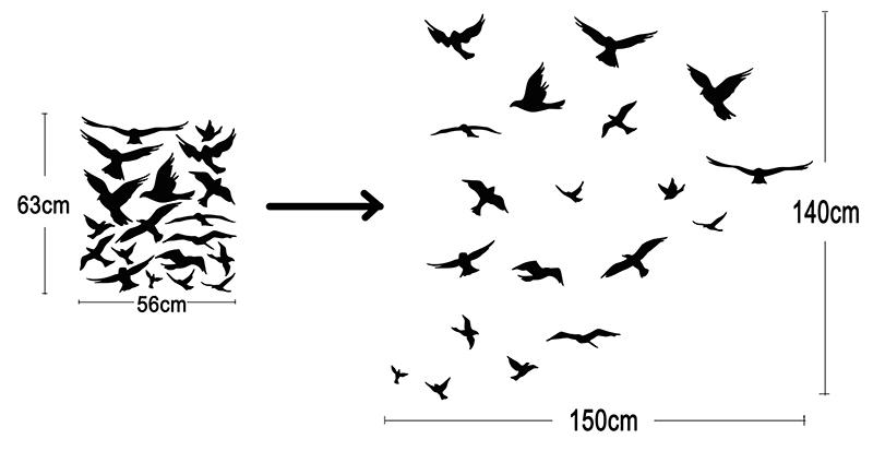 JJRUI bandada de pájaros volando habitación decoración etiqueta de - Decoración del hogar - foto 4