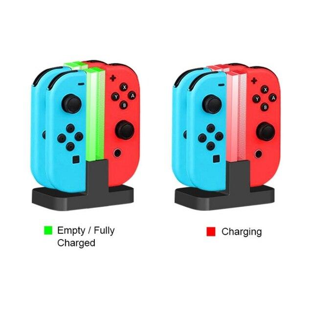 Cargador de estación de carga LED para Nintendo Switch 4 Joy Con controladores 4 en 1 soporte de carga
