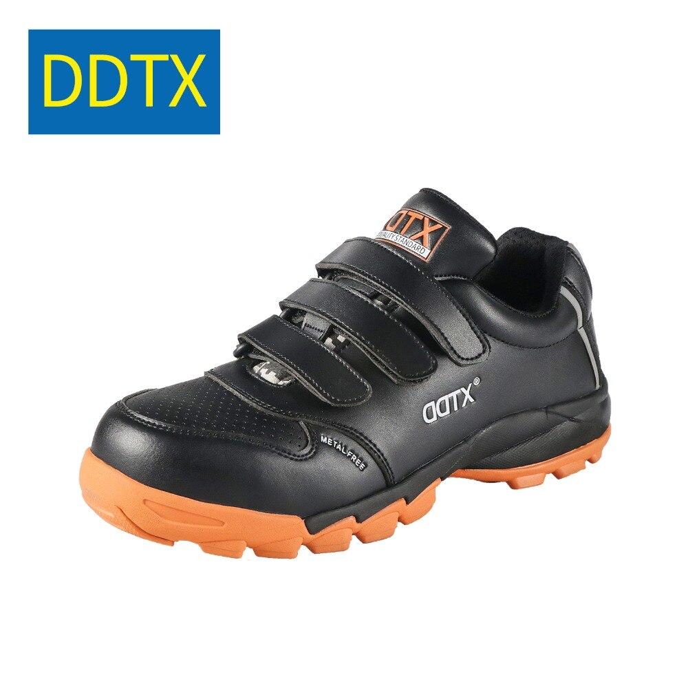 DDTX chaussures de sécurité bottes de travail hommes Composite orteil Anti-smash léger respirant chaussures de sécurité EH isolation noir
