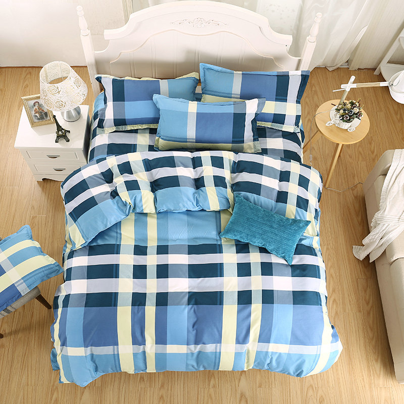 Super Comfortable Home Textiles Fashion Simple Blue And White Stripes Printing Pattern Four Sets Of Quilt + Bed + Pillowcase