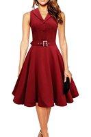 High Quality Fashion Slim Retro Hepburn Style 50s 60s Dress Waist Belted Elegant Single Breasted Lapel