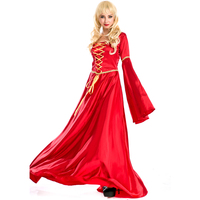 European Retro Court Dress Red British Aristocracy Queen Costume Halloween Party Princess Costume Red Long Evening Gown A158696