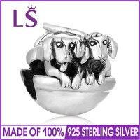 LS две собаки Талисманы Бусины для ювелирных изделий Fit Браслеты День матери Талисманы стерлингового серебра