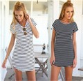 Summer Style 2016 Women Dress New Casual Loose Black White Striped Dresses Short Sleeve O Neck Mini Vestidos Plus Size