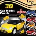 Новый 3D модели Автомобилей, Хорошее Качество 1:32 Пластиковый Автомобиль Модель Building Blocks Набор, дети Забавный Автомобиль Блоки Игрушка 4 стилей, 8 цветов