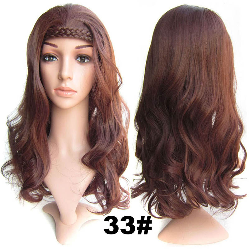 #33 Dark Auburn Color Synthetic Hair Natural Wigs Medium 22inch 55cm 210g Wig Fall Wavy Heat Resistant Fiber 16Colours Available