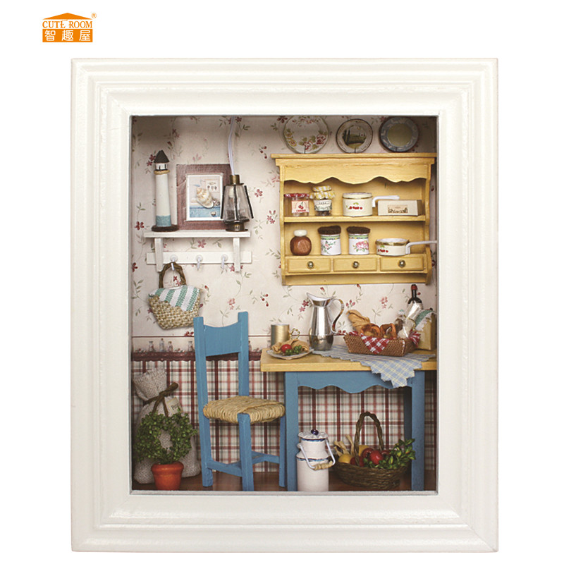 CUTE ROOM Miniature Wooden Doll House With DIY Furniture Relax Puzzle Toys For Kids Children Birthday Gift Photo Frame W002
