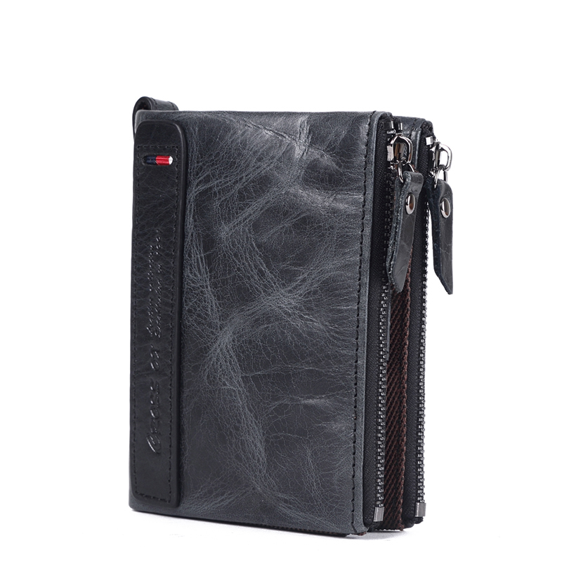 CROSS OX men's genuine leather wallet case and coin purse WL106 women men genuine leather double zipper wallet clutches card holder phone bags coin bags